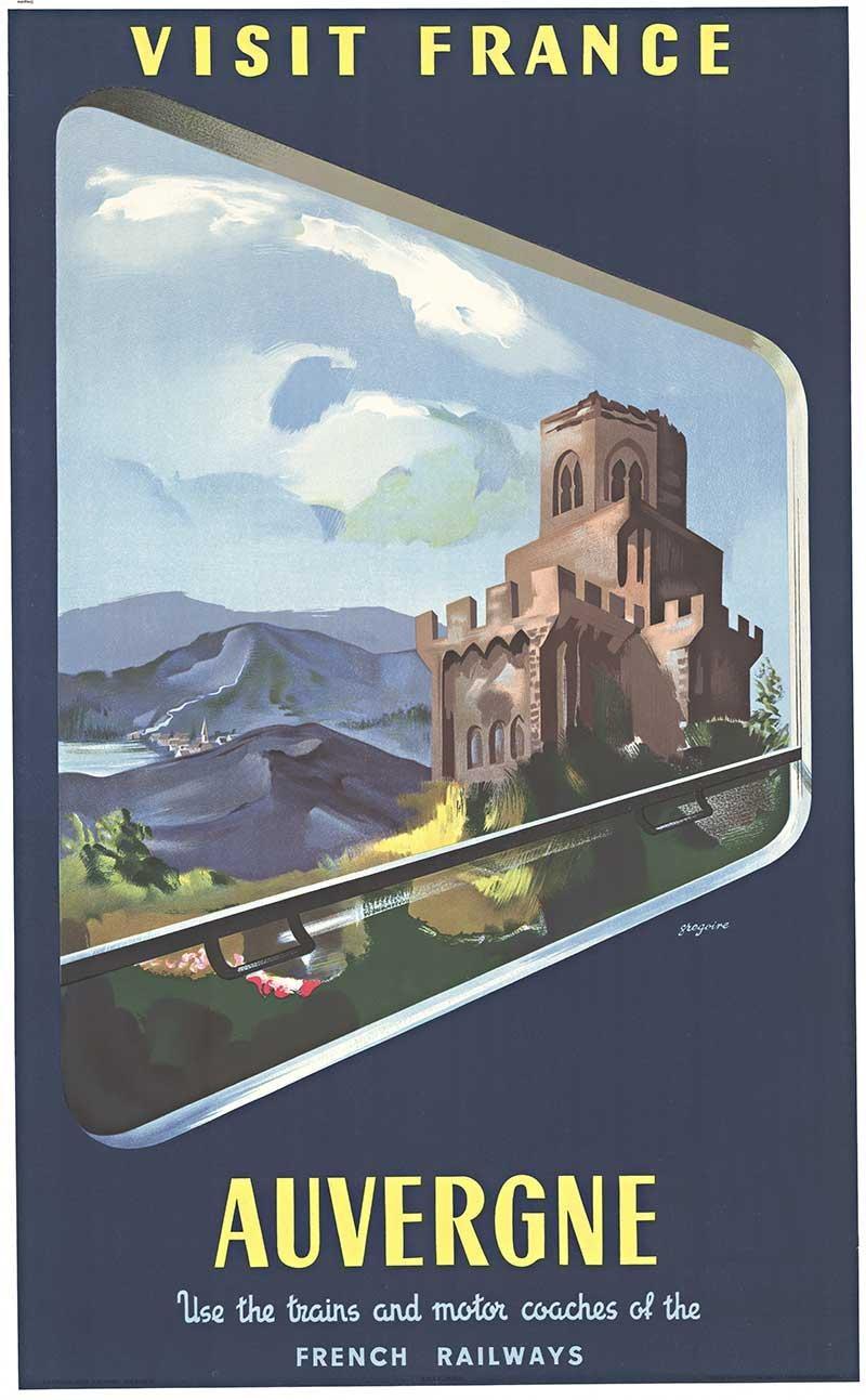 Visit France  Auvergne original SNCF vintage travel poster