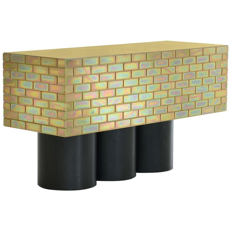 "Gregor Jenkin, ""A Piece of Furniture Made of Brick"", Brass and Steel Sideboard For Sale"