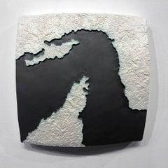 """Choke II: Strait of Hormuz (Oman & Iran)"" - ceramic - map - black & white -"