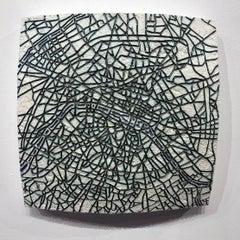 """Paris #1"" - ceramic tablet - wall sculpture - map of Paris - France - Puryear"