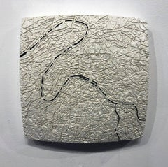"""Paris #3"" - ceramic tablet - wall sculpture - map of Paris - France - Puryear"