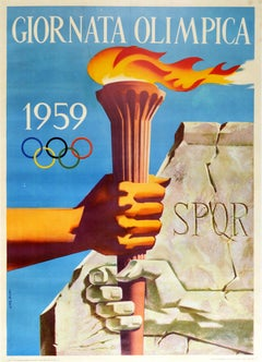 Original Vintage Poster Giornata Olimpica Modern Ancient Rome Olympic Games Day