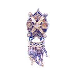 Gregorian Tassel Enamel Coat of Arms Pin 18 Karat Gregorian