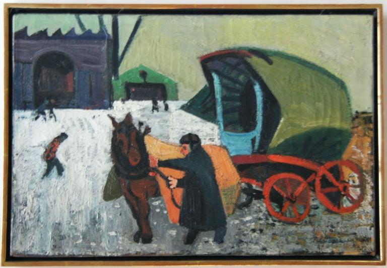 "Gregorio Prestopino Landscape Painting - ""Man with Cart"" American Scene Modern Modernism WPA Depression Era Regionalism"