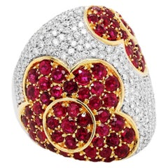 Gregorio Signed Ruby Diamond 18K White Yellow Gold Floral Flower Wide Dome Ring