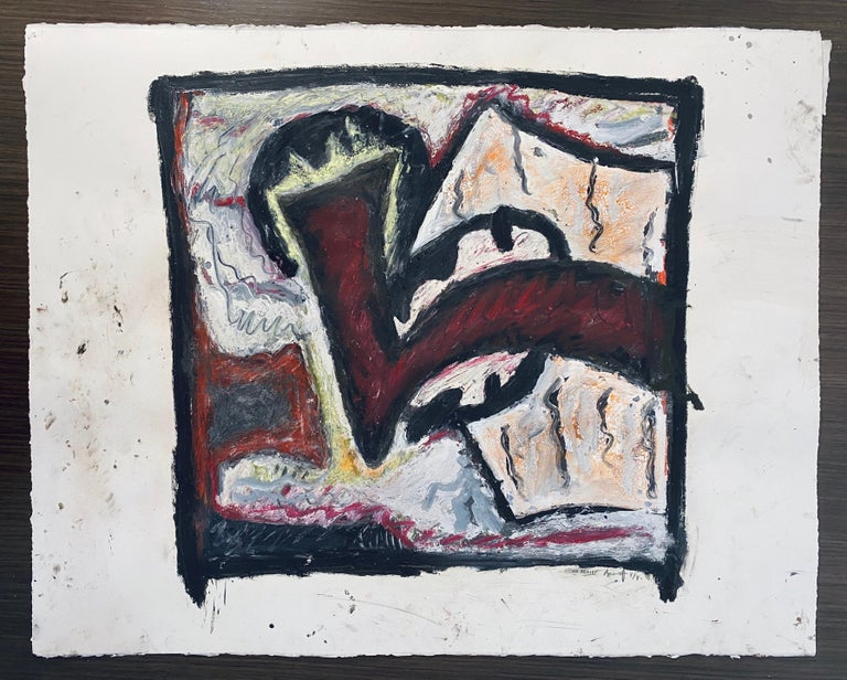 1981 Abstract Oil Painting Bold Colorful American Modernist Gregory Amenoff For Sale 9