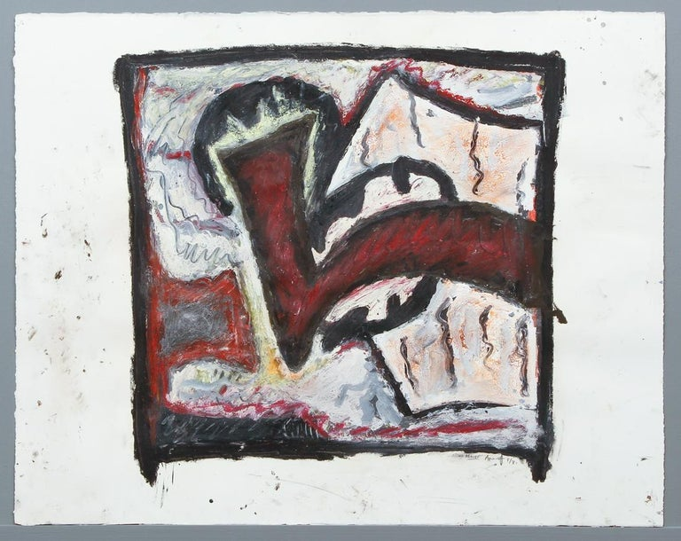 1981 Abstract Oil Painting Bold Colorful American Modernist Gregory Amenoff For Sale 10