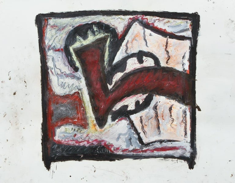Gregory Amenoff (Contemporary American abstract painter, b. 1948),  No Relief, 1981, oil paint, mixed media on paper, pencil signed, titled, and dated 8/81 (August 1981). image 19 x 20 inches , sheet size 22.5