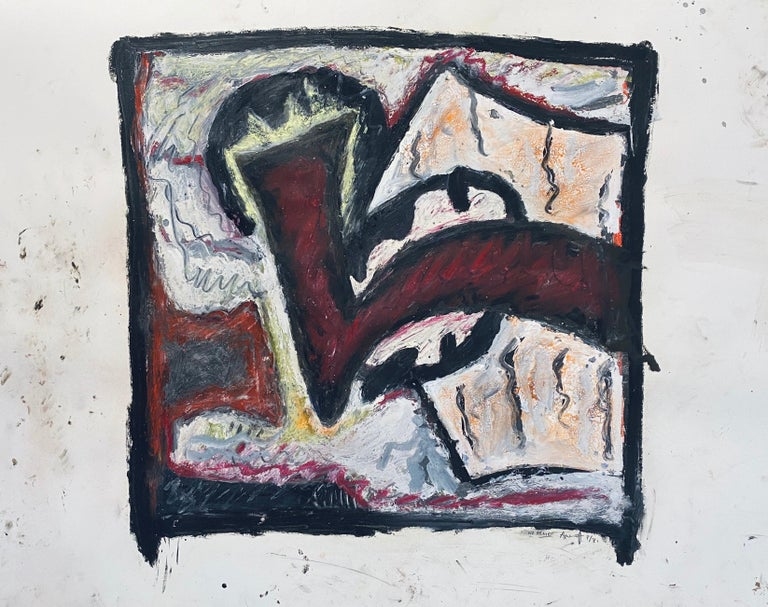 1981 Abstract Oil Painting Bold Colorful American Modernist Gregory Amenoff For Sale 2