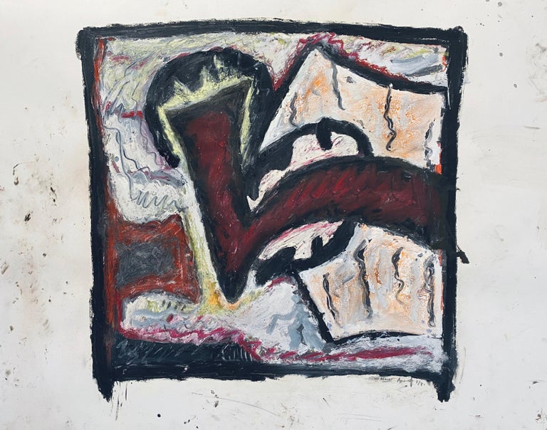1981 Abstract Oil Painting Bold Colorful American Modernist Gregory Amenoff For Sale 3