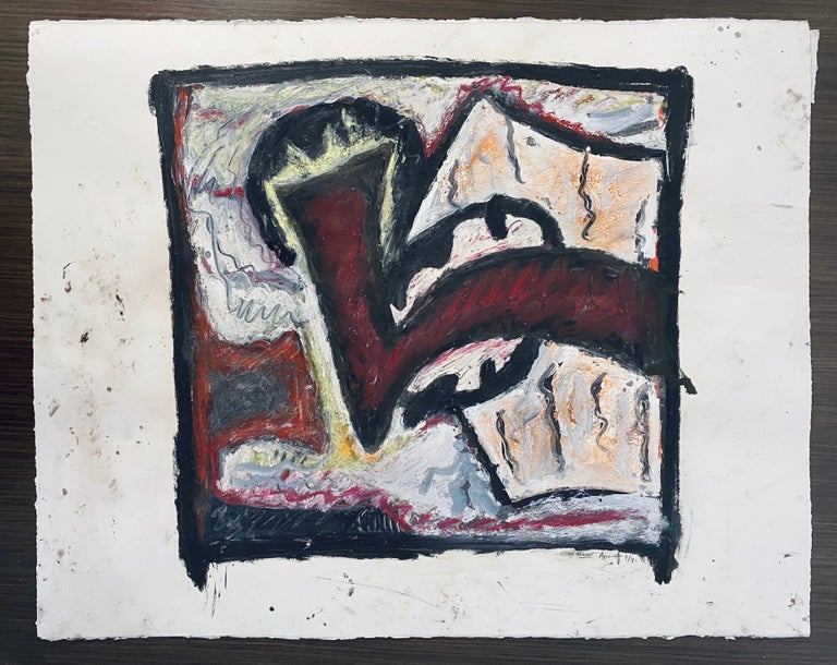 1981 Abstract Oil Painting Bold Colorful American Modernist Gregory Amenoff For Sale 4