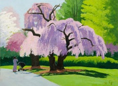 Cherry Tree, pink & lavender flowering trees w mother and child in stroller