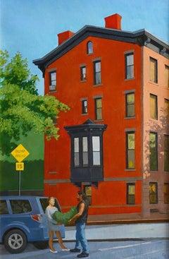 End of Brownstone, urban street scene Brooklyn, bright colors