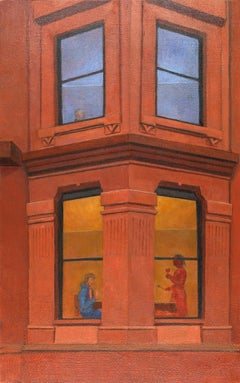 Two Stories, historic urban architecture, cityscape, orange and red brick