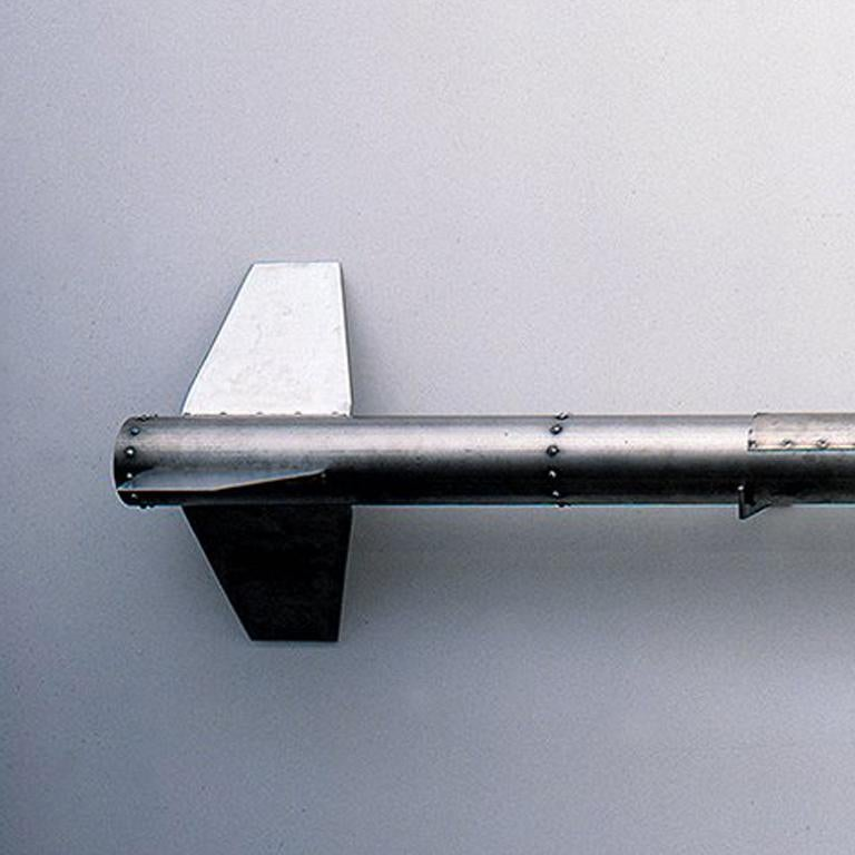 Fido, 1998 Chemical or biological rocket Stainless steel, electronics and resin 100 x 12 x 12 inches   Fido is a fully functional rocket with a hand sculpted nosecone but is missing the detonator and fuel.  Shipping times may vary depending on