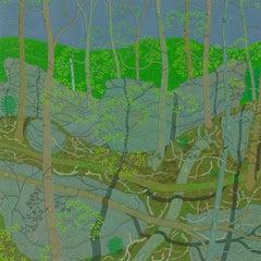 April Green Wyatt Mountain, Spring Forest, Virginia Landscape in Green, Gray