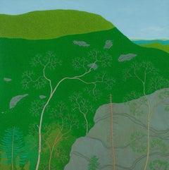Last Light on Slaters Ridge Wyatt Mt, Landscape, Blue Sky, Green Mountain, Trees