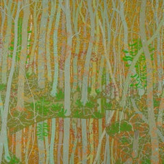 Reflections at the Spring's Entrance, Forest Landscape in Grey, Orange, Green