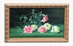 Hollyer Oil Painting Still Life Realism Roses Framed Pink 1910 Antique British