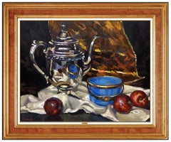 Gregory Hull Original Oil Painting On Canvas Signed Still Life Illustration Art
