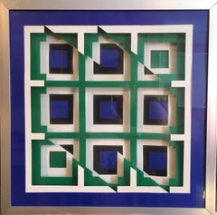'Doublellogram' Optical Illusion Perspex and Glass Sculpture