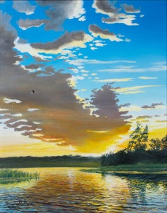 """""""An Eagle's Morning,"""" Oil on Board Lake Landscape signed by Gregory Steele"""