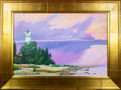 'Cana Island Lighthouse' original painting signed by Gregory Steele, purple