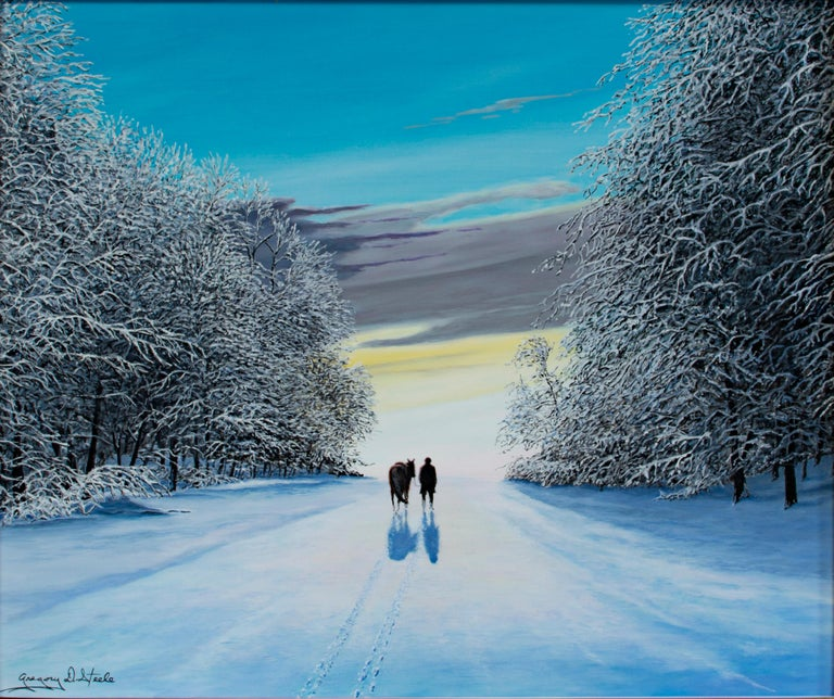 """""""Miles to Go"""" is an oil on canvas signed by Gregory D. Steele. This winter landscape shows a lone figure and his horse walking down a path. Surrounding them on either side are hedges of leave-less trees covered in snow.   Art: 20 x 24 in Frame: 26 x"""