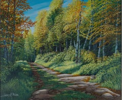 """""""North Woods Road,"""" Oil on Board Forest Landscape signed by Gregory Steele"""