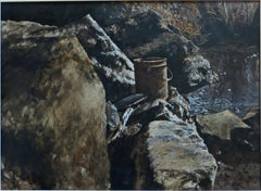 Pail, Boulders, Stream  -American Realism