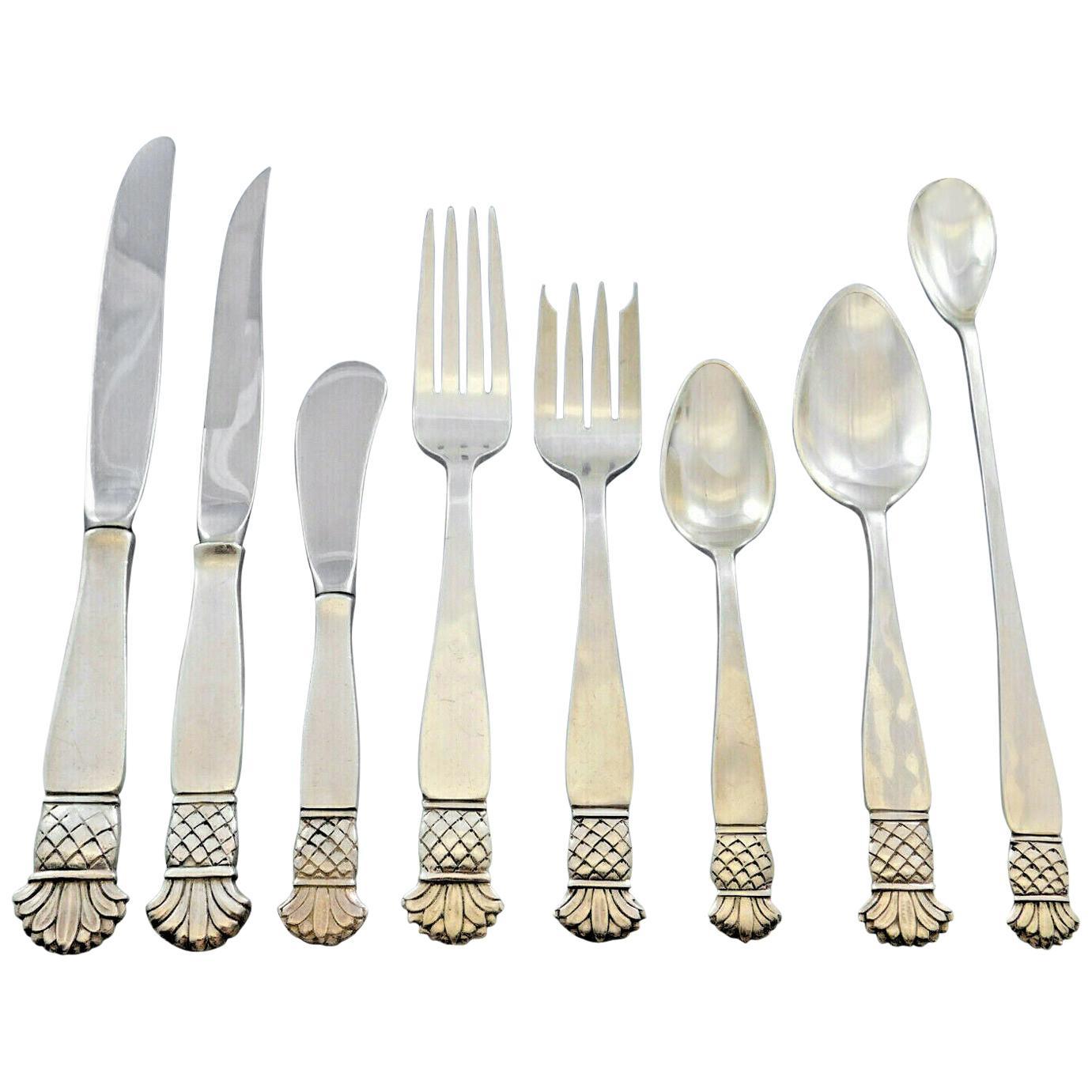 Grenada Old Newbury Crafters Sterling Silver Flatware Set Service 67 Pcs Dinner
