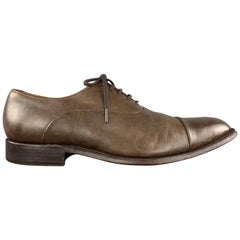 GRENSON Size 10.5 Brown Leather Cap Toe Lace Up