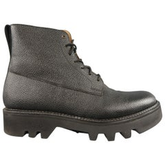 GRENSON Size 12 Black Pebbled Leather Platform Commando GIDEON Boots