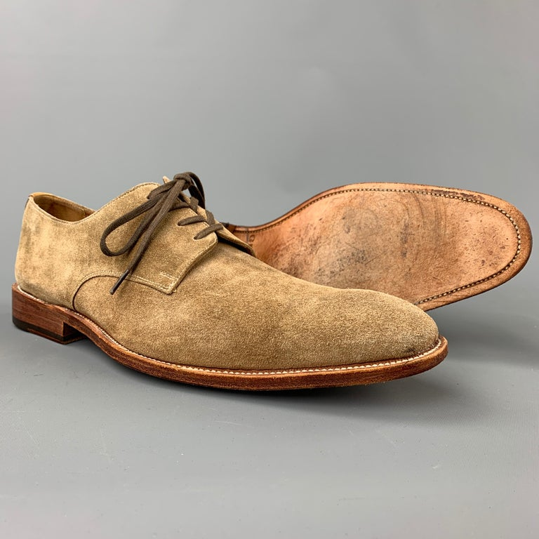 Brown GRENSON Size 9 Tan Suede Lace Up Dress Shoes For Sale
