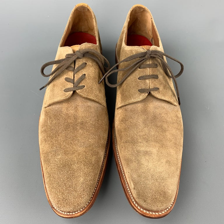 GRENSON Size 9 Tan Suede Lace Up Dress Shoes In Good Condition For Sale In San Francisco, CA