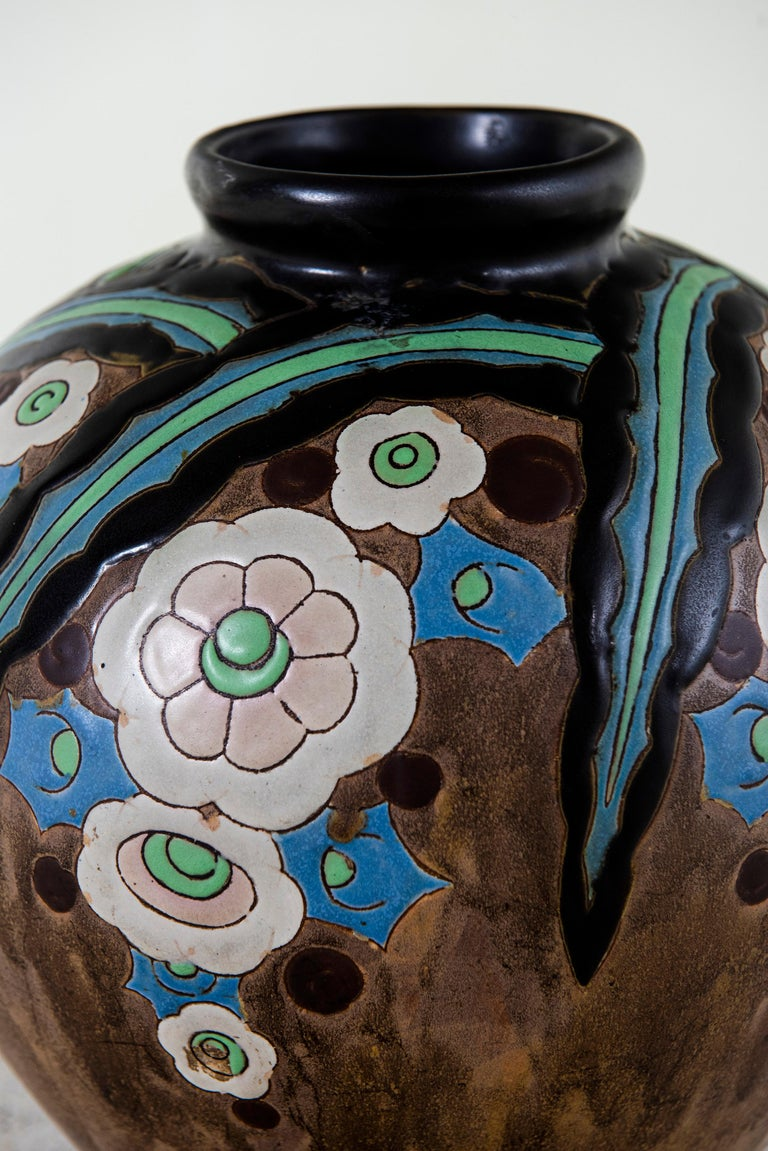 Art Deco Gres Keramis Flower Vase, Belgium, circa 1920 For Sale