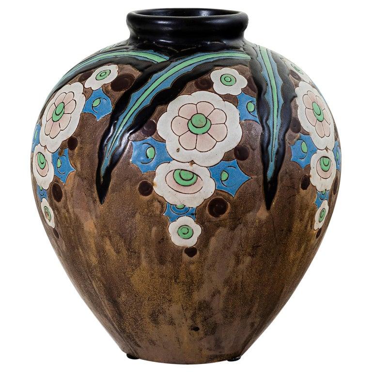 Gres Keramis Flower Vase, Belgium, circa 1920 For Sale