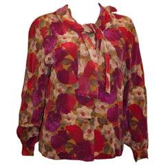 Gres Paris Floral Silk Blouse