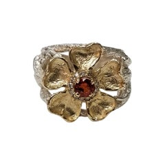 Gresha 14 Karat Gold Flower and Vine Orange Sapphire Weighing and Diamond Ring