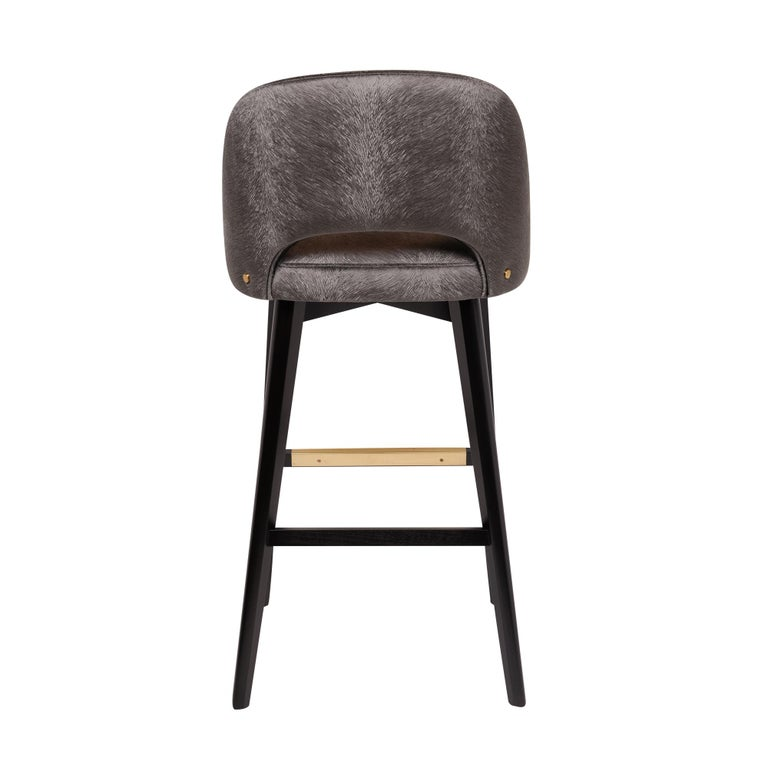 Plated Greta Bar or Counter Stool For Sale