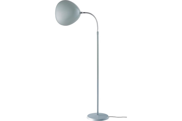 Scandinavian Modern Greta Grossman Cobra Floor Lamp, Dusty Blue For Sale