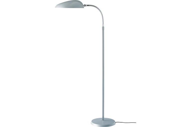 Scandinavian Greta Grossman Cobra Floor Lamp, Dusty Blue For Sale