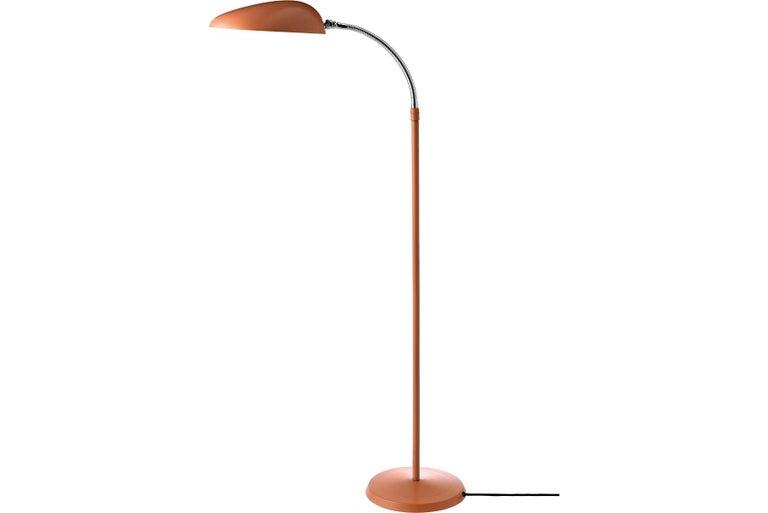 Scandinavian Greta Grossman Cobra Floor Lamp, Vintage Red For Sale