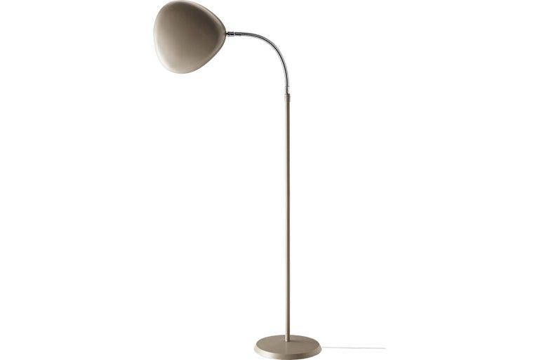 Scandinavian Modern Greta Grossman Cobra Floor Lamp, Warm Grey For Sale