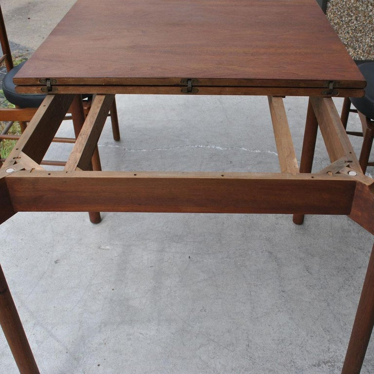 20th Century Greta Grossman Midcentury Teak Expandable Dining Table and Chairs For Sale
