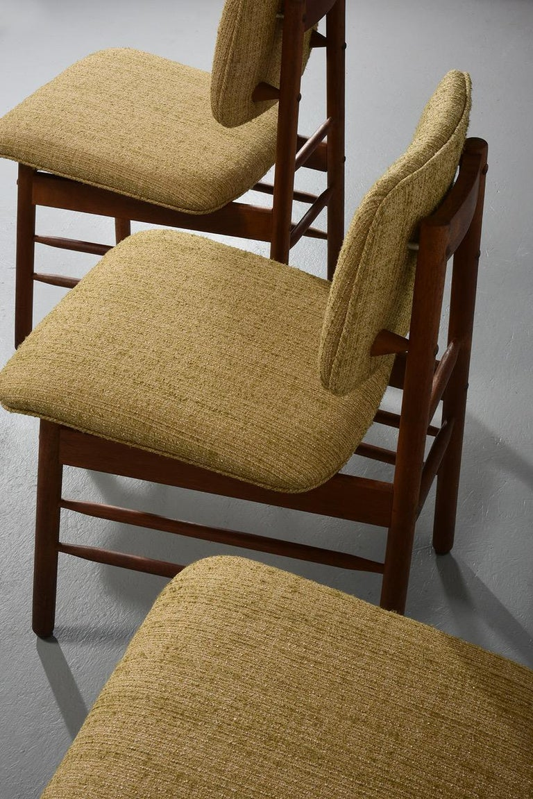 Upholstery Greta Grossman Set of Four Chairs, Model 6260, circa 1952 For Sale