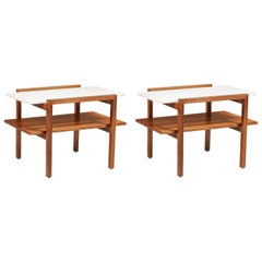 Greta M. Grossman Two-Tier Side Tables with Marble Tops for Glenn of California