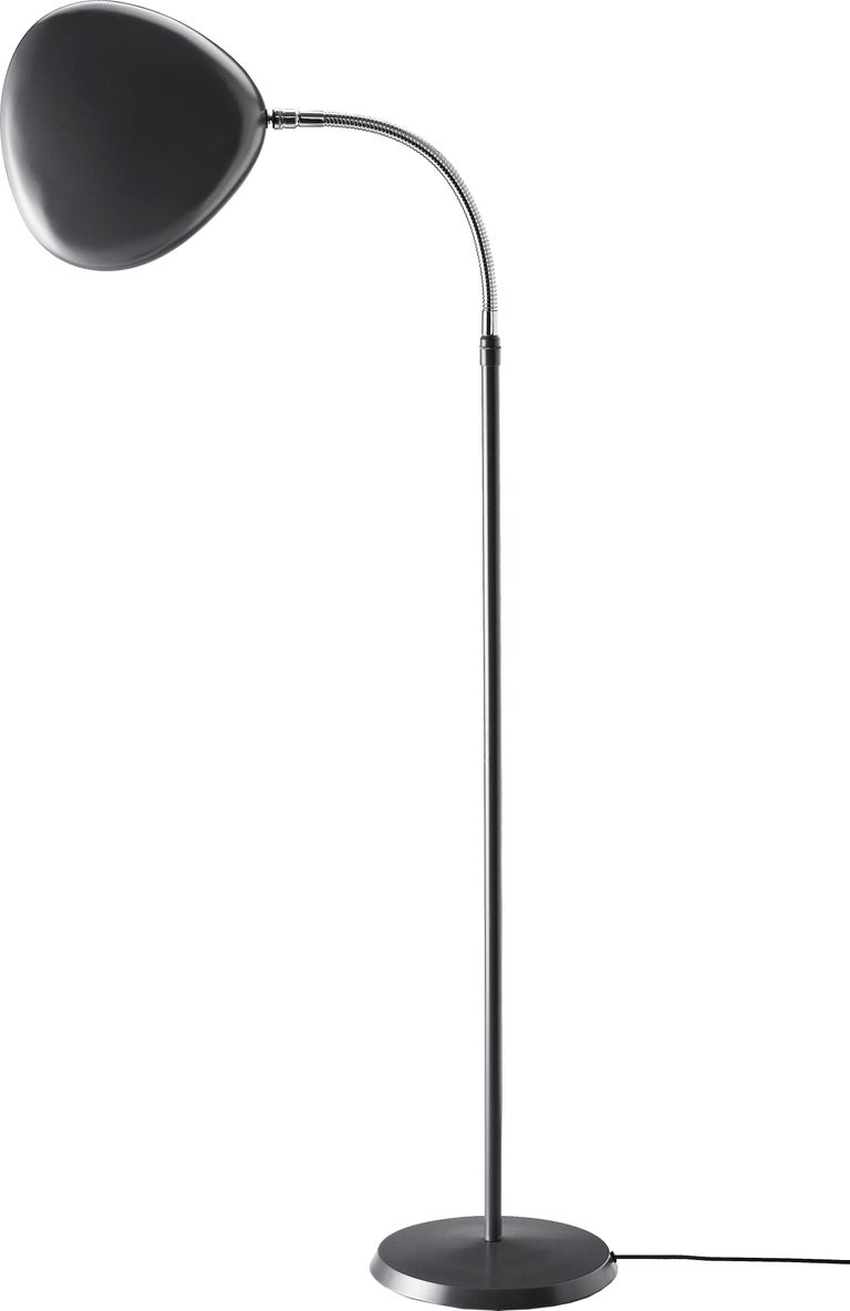 Aluminum Greta Magnusson Grossman 'Cobra' Floor Lamp in Dark Gray For Sale