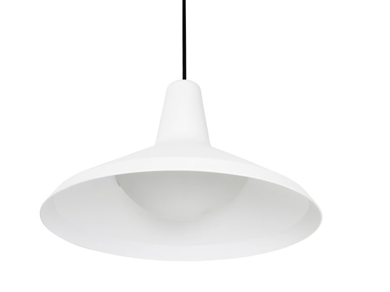 Powder-Coated Greta Magnusson Grossman 'G-10' Pendant Lamp in Black For Sale