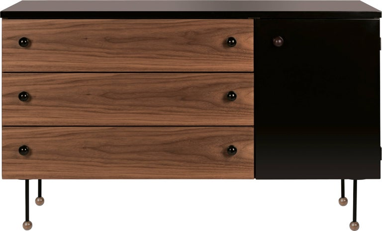 Greta Magnusson Grossman series 62 three-drawer long dresser. Designed in 1952 by Grossman, this is an authorized re-edition by GUBI of Denmark who meticulously reproduces her work with scrupulous attention to detail and materials that are faithful